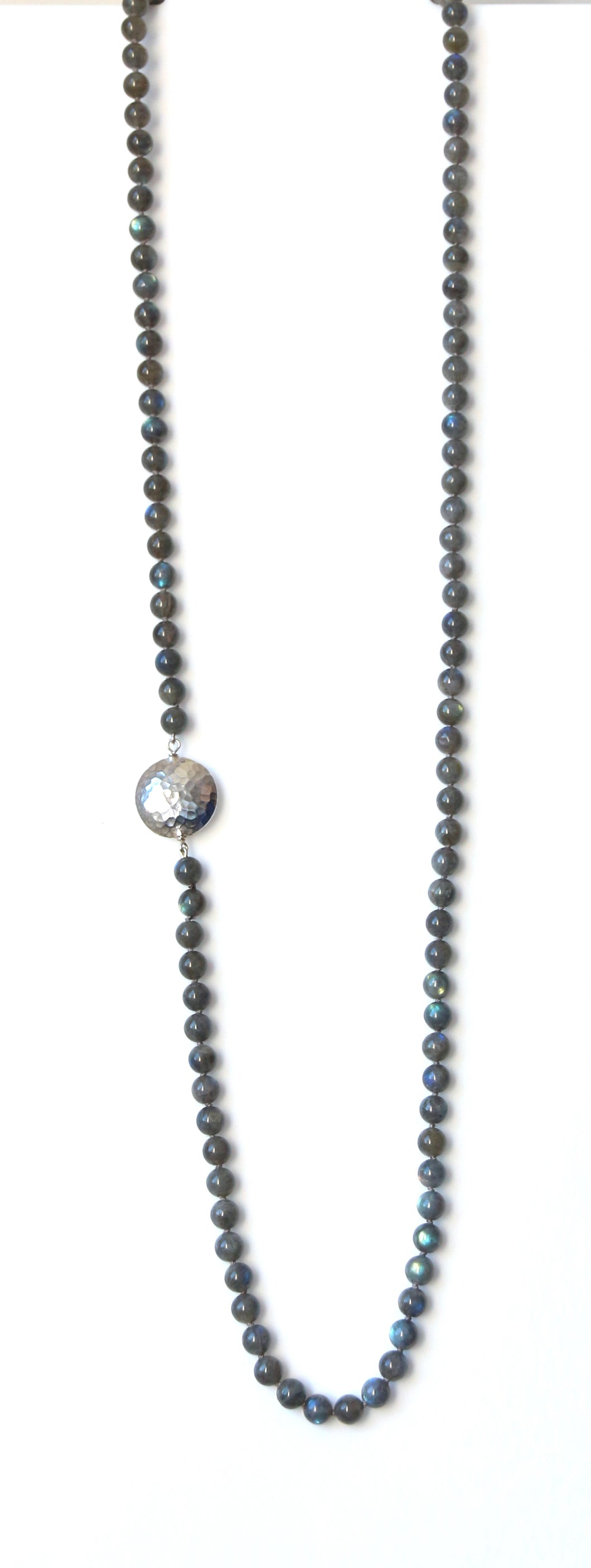 Australian Handmade Grey Long Necklace with Labradorite and Sterling Silver Feature side piece