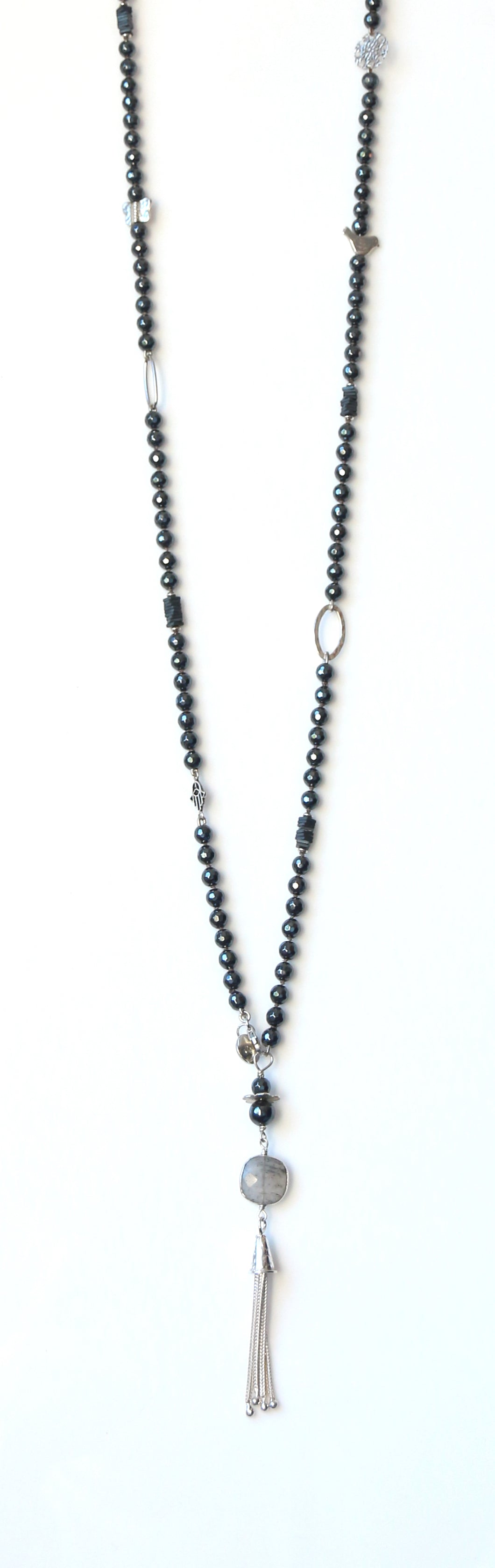 Australian Handmade Grey Long Tassel Necklace with Hematite and Sterling Silver Charms