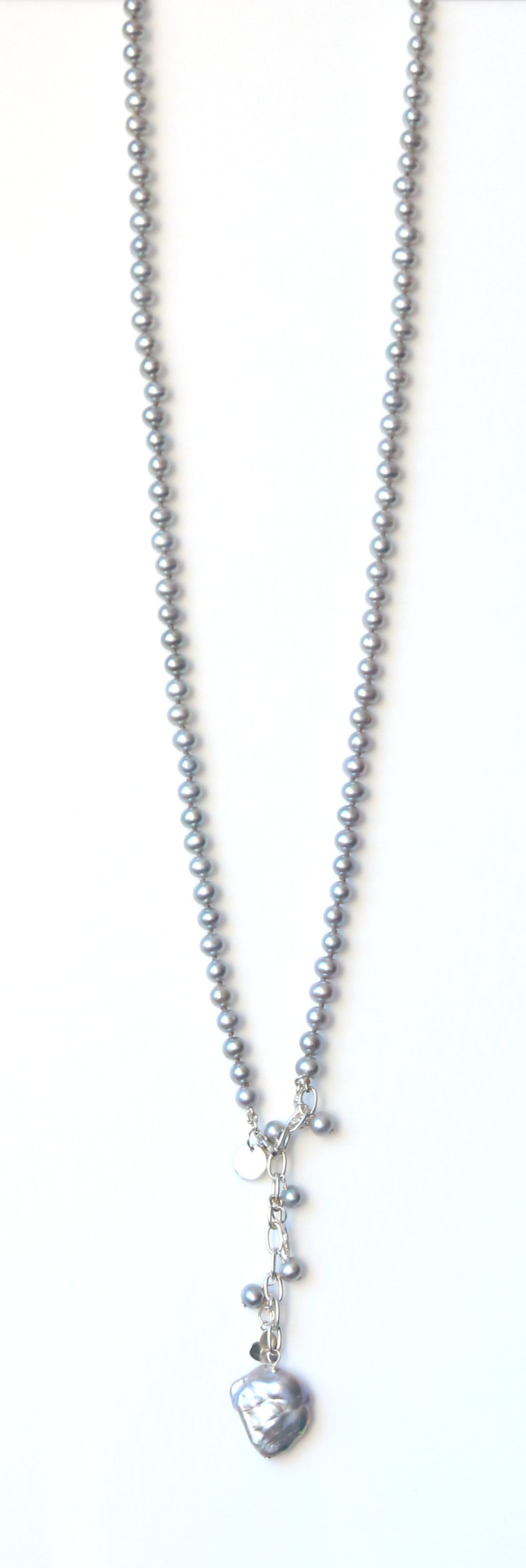 Australian Handmade Grey Long Necklace with Grey Pearls Baroque Pearl and Sterling Silver