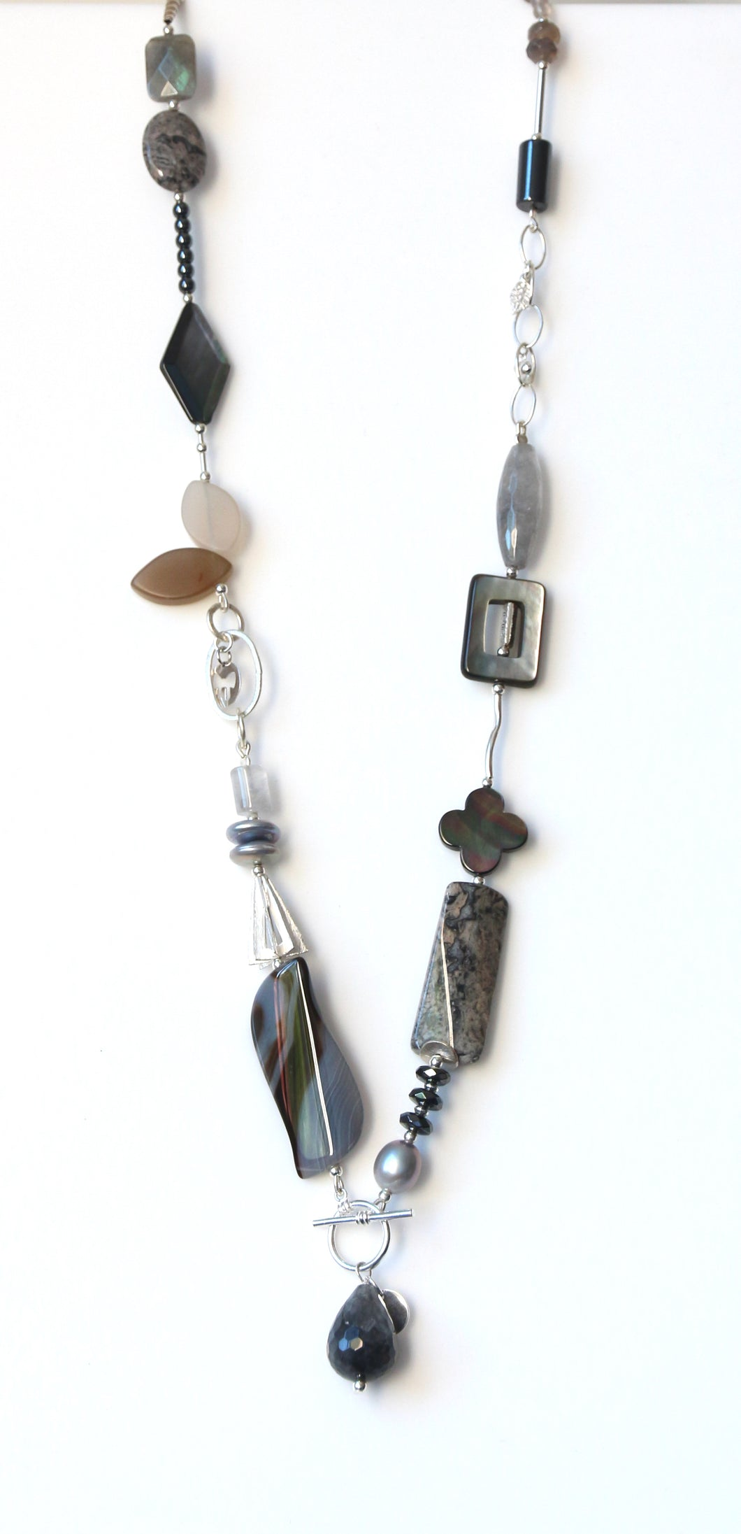 Australian Handmade Grey Fob Necklace with Agate Rutile Quartz Hematite Pearls and Sterling Silver