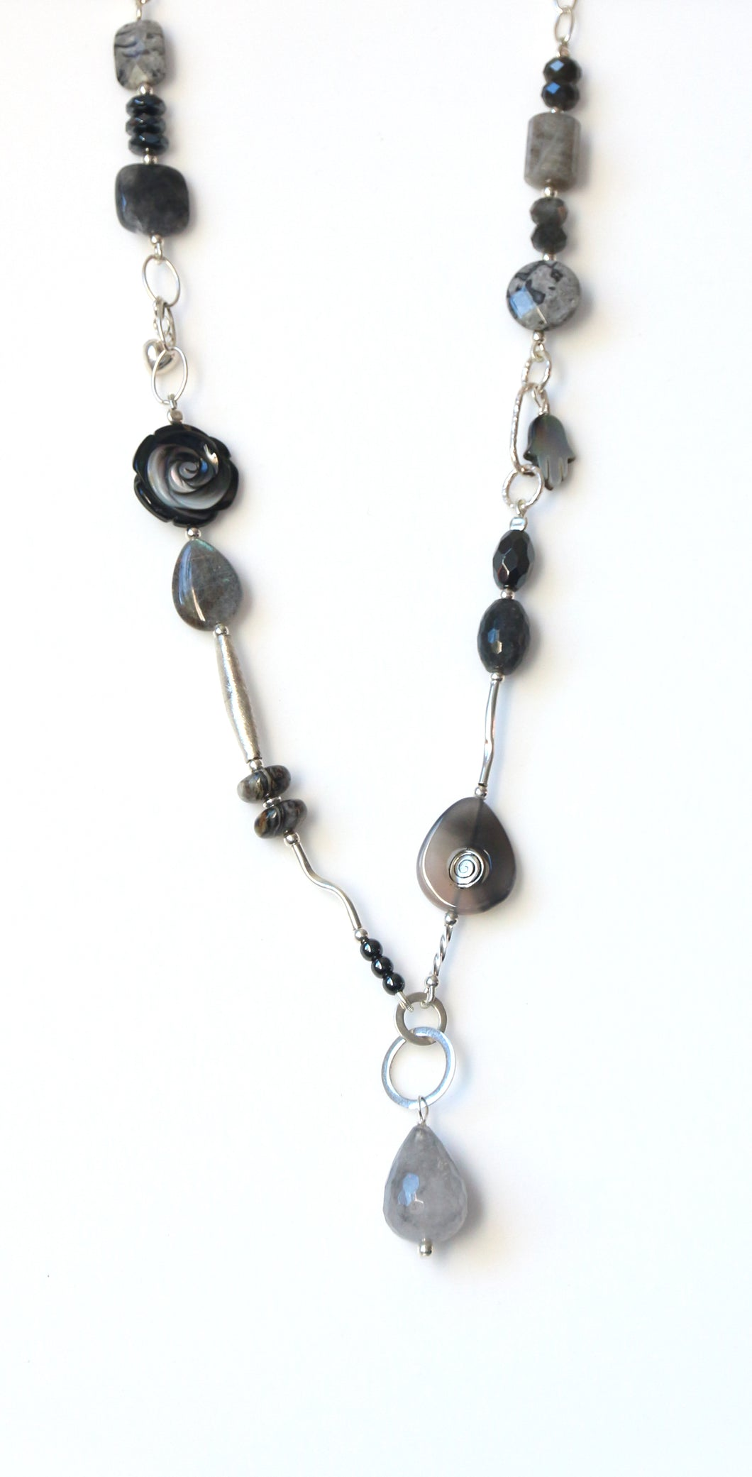 Australian Handmade Grey Necklace with Labradorite Agate Grey Quartz Mother of Pearl and Sterling Silver