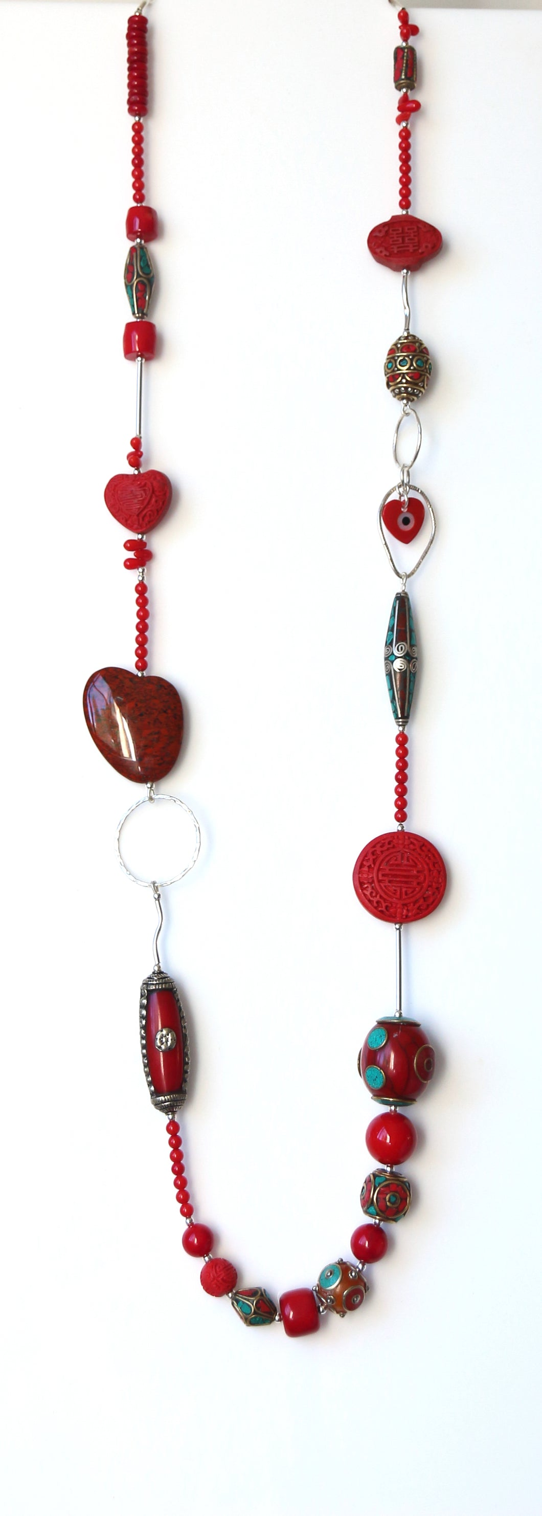Australian Handmade Red Coral Cinnabar Jasper Nepalese and Tibetan bead Sterling Silver Necklace