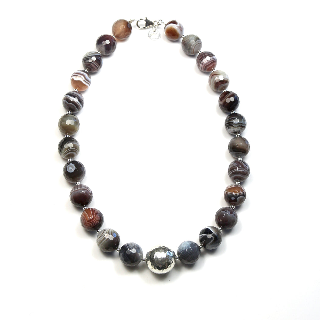 Australian Handmade Grey Necklace with Botswana Agate with Sterling Silver feature bead