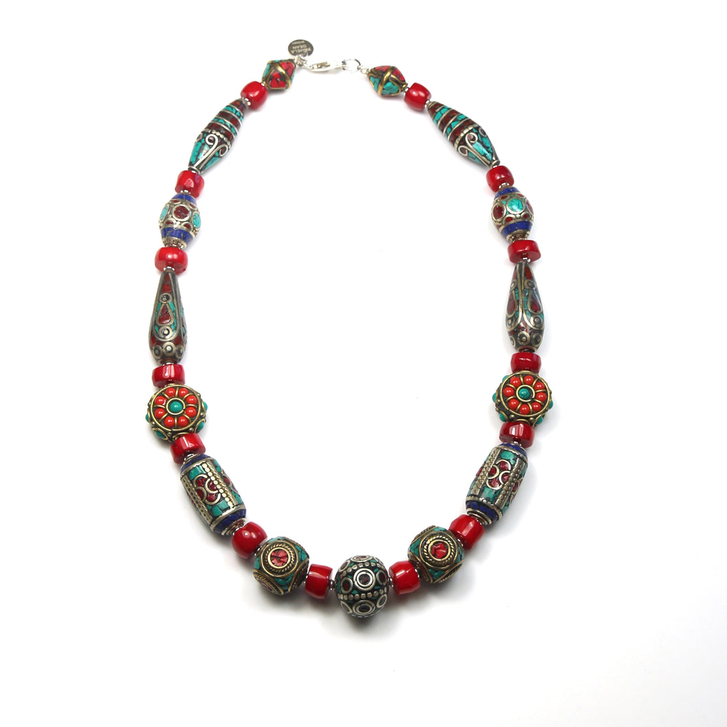 Australian Handmade Red Coral Necklace with Assorted Nepalese Beads