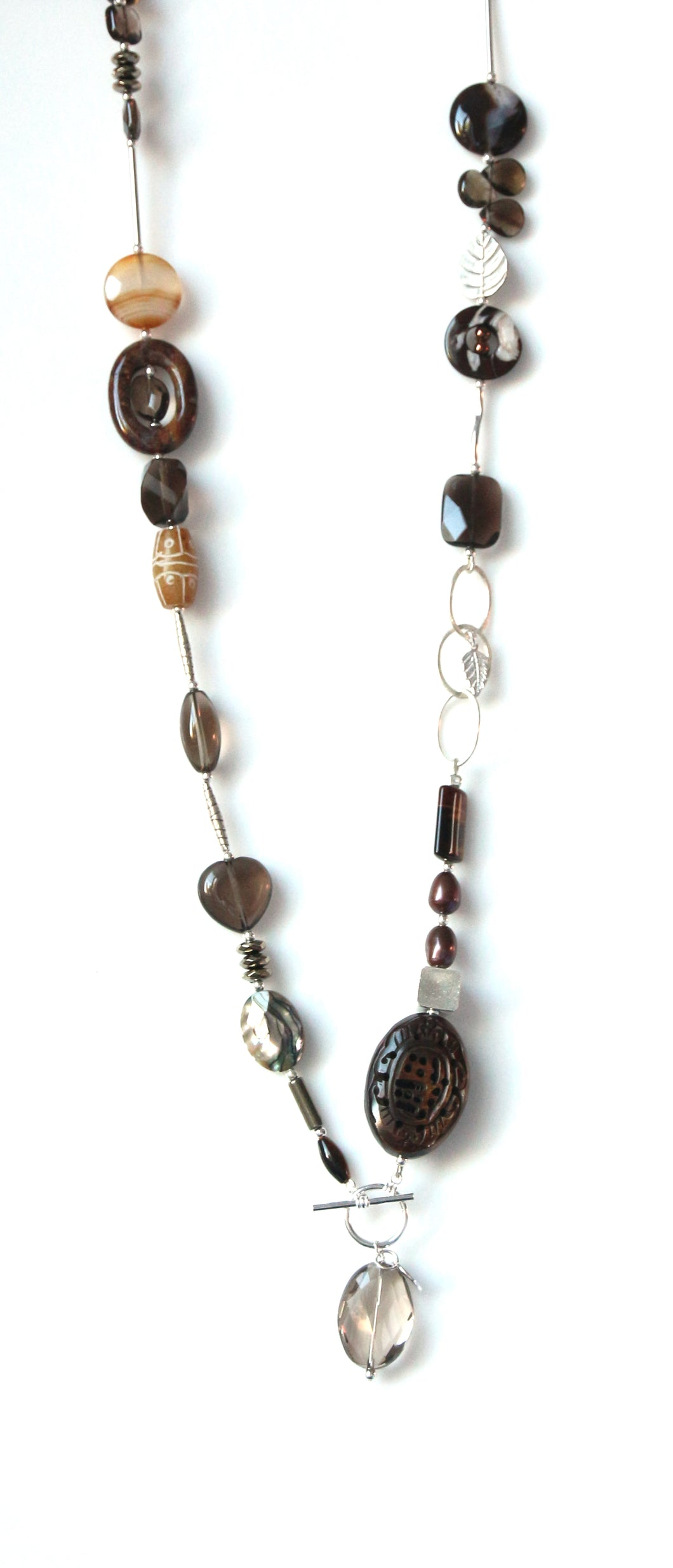 Australian Handmade Brown Fob Necklace with Smoky Quartz Agate Tigers Eye Tibetan Bead and Sterling Silver