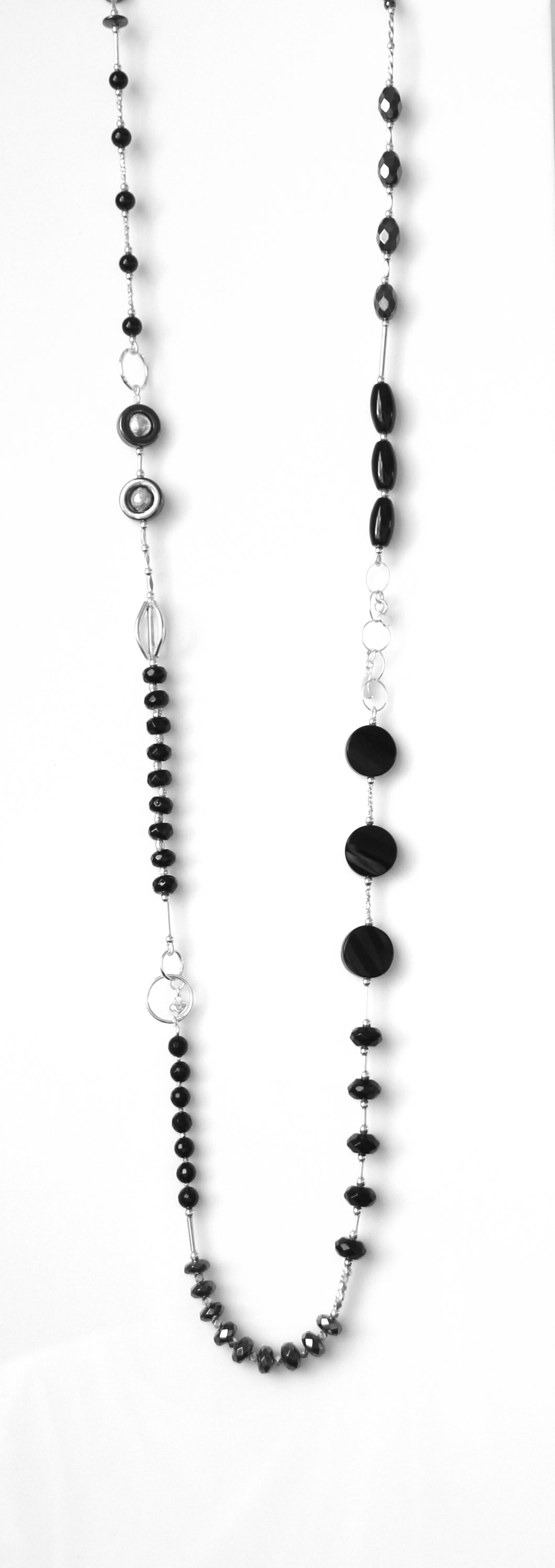 Australian Handmade Black Onyx Hematite Agate and Sterling Silver Necklace