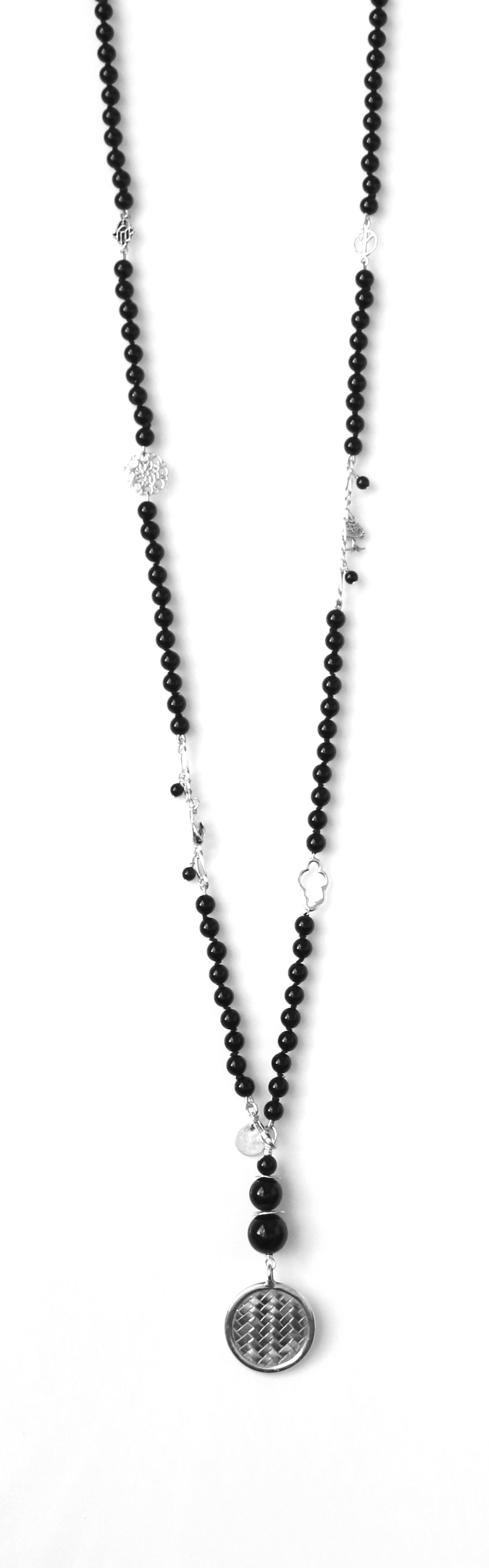 Australian Handmade Black Onyx and Sterling Silver Necklace