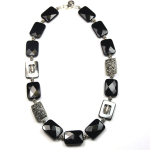 Australian Handmade Black Facetted Onyx Mother of Pearl and Sterling Silver Necklace