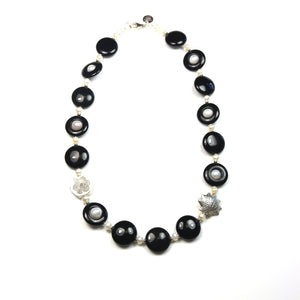 Australian Handmade Black Onyx Pearl and Sterling Silver Necklace