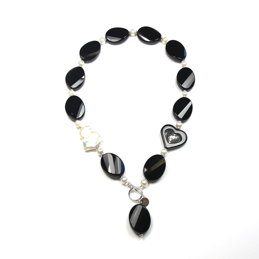 Australian Handmade Black Onyx Agate Baroque Pearl and Sterling Silver Fob Necklace