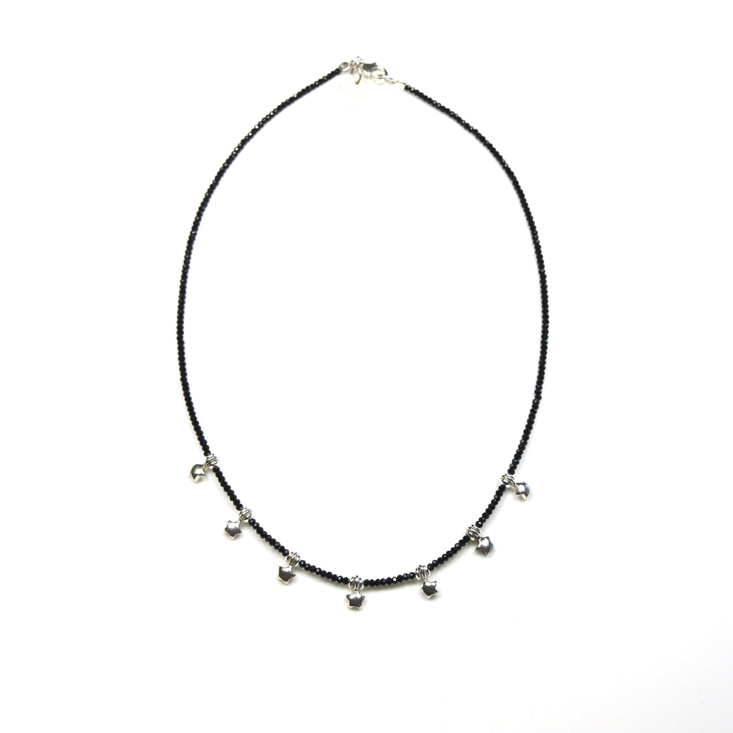 Australian Handmade Black Spinel Necklace Featuring Sterling Silver Stars