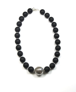 Australian Handmade Black Matt Jade Necklace with Sterling Silver Centrepiece