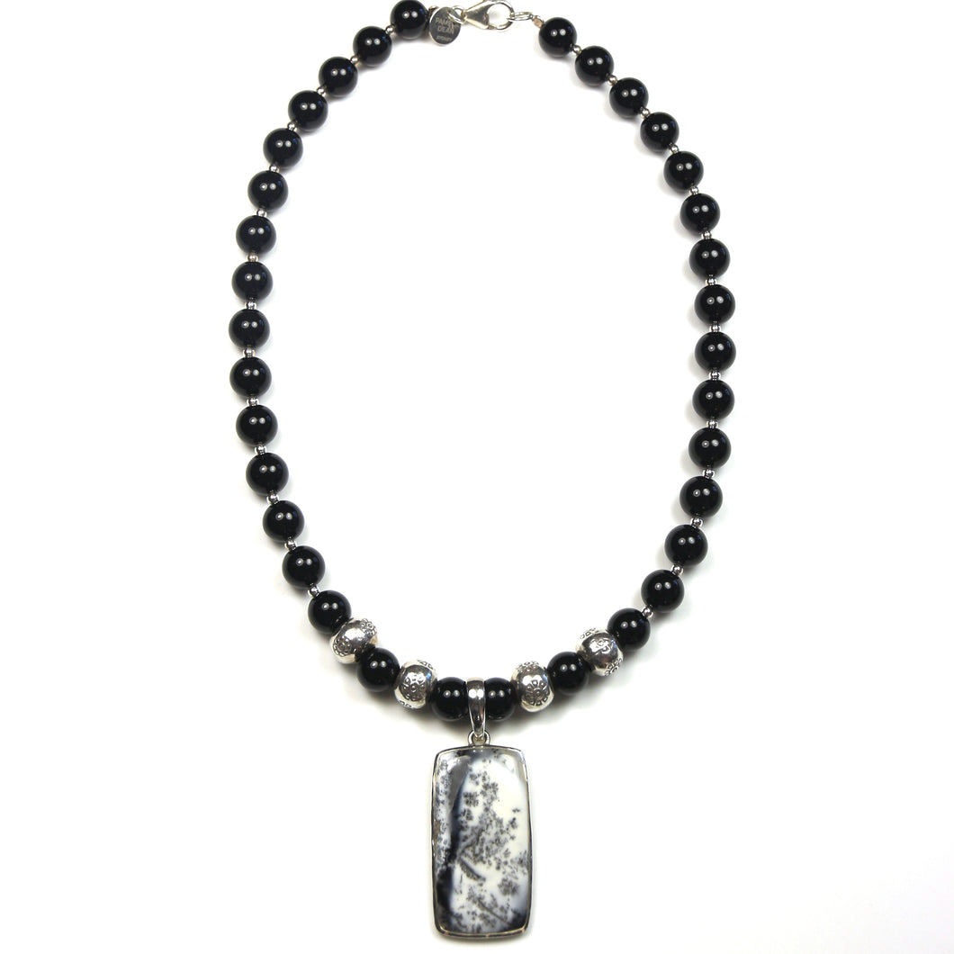 Australian Handmade Black Onyx Sterling Silver Necklace with Dendrite Opal Pendant