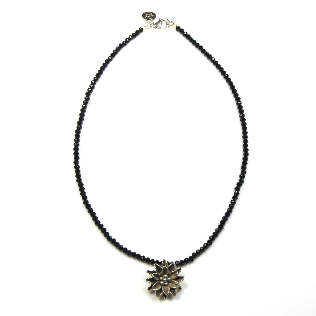 Australian Handmade Black Spinel Necklace with Sterling Silver Flower