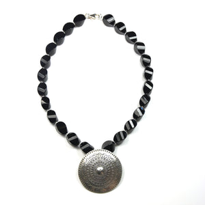 Australian Handmade Black Onyx Necklace featuring Sterling Silver Pendant