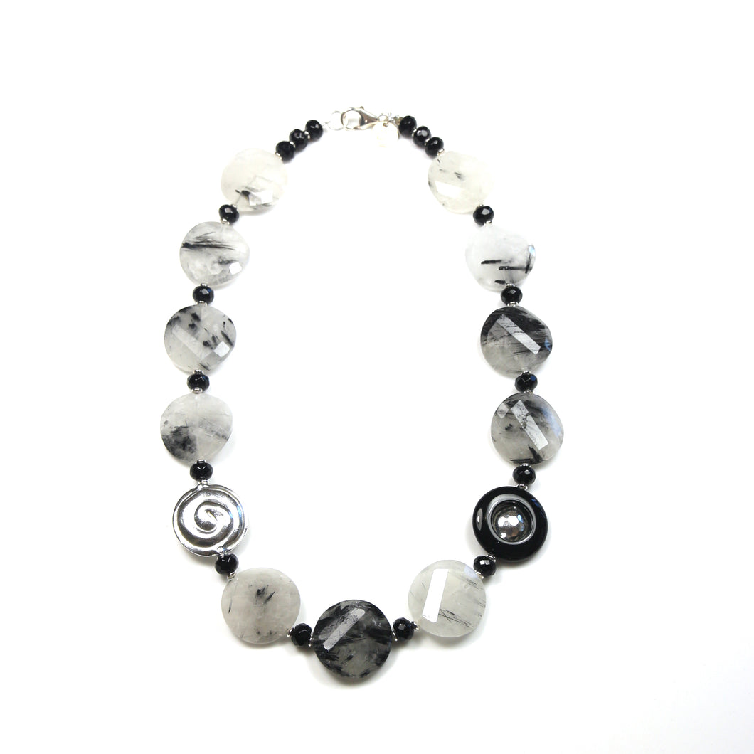 Australian Handmade Black Rutile Quartz and Sterling Silver Necklace