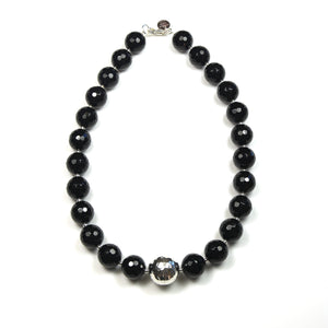Australian Handmade Black Facetted Onyx Necklace with Feature Sterling Silver Bead