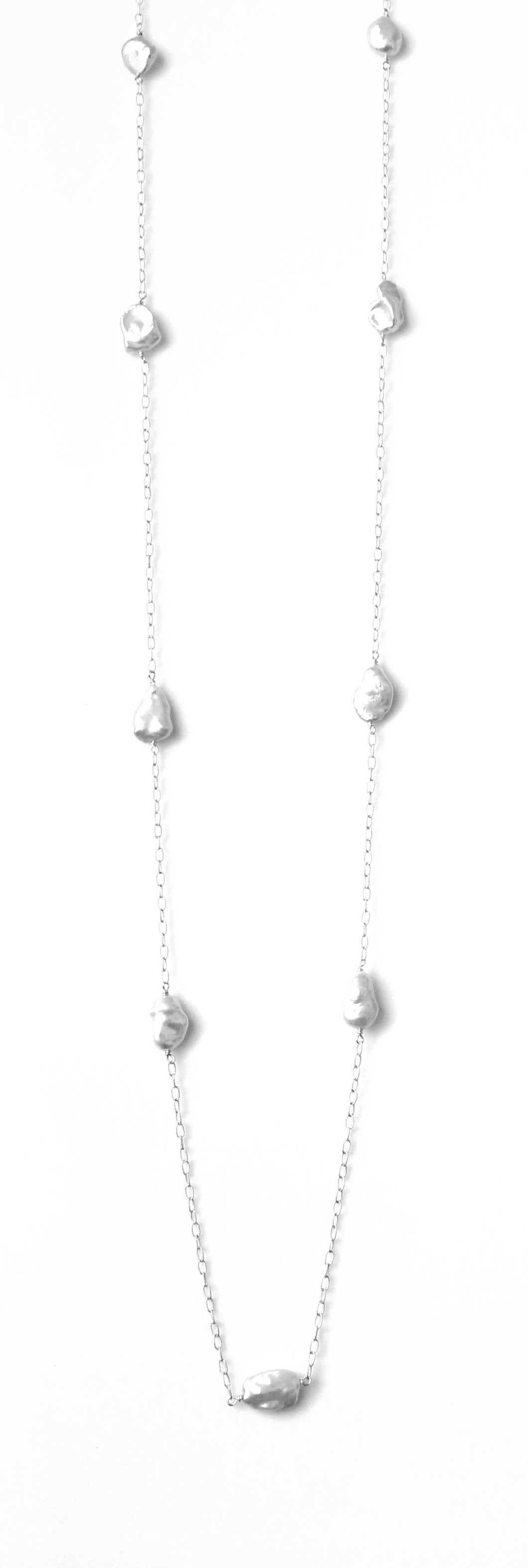 Sterling Silver Chain Necklace with Baroque Pearls