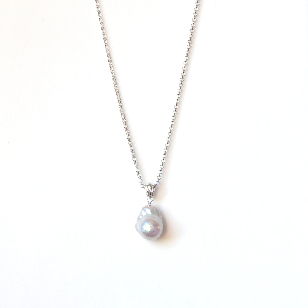 Sterling Silver Chain Necklace with Baroque Pearl Pendant