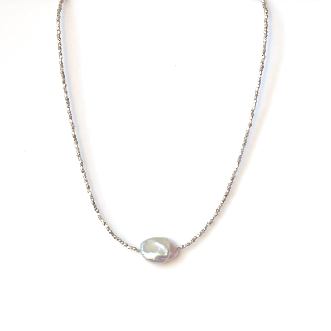 Sterling Silver Beaded Necklace with Baroque Pearl