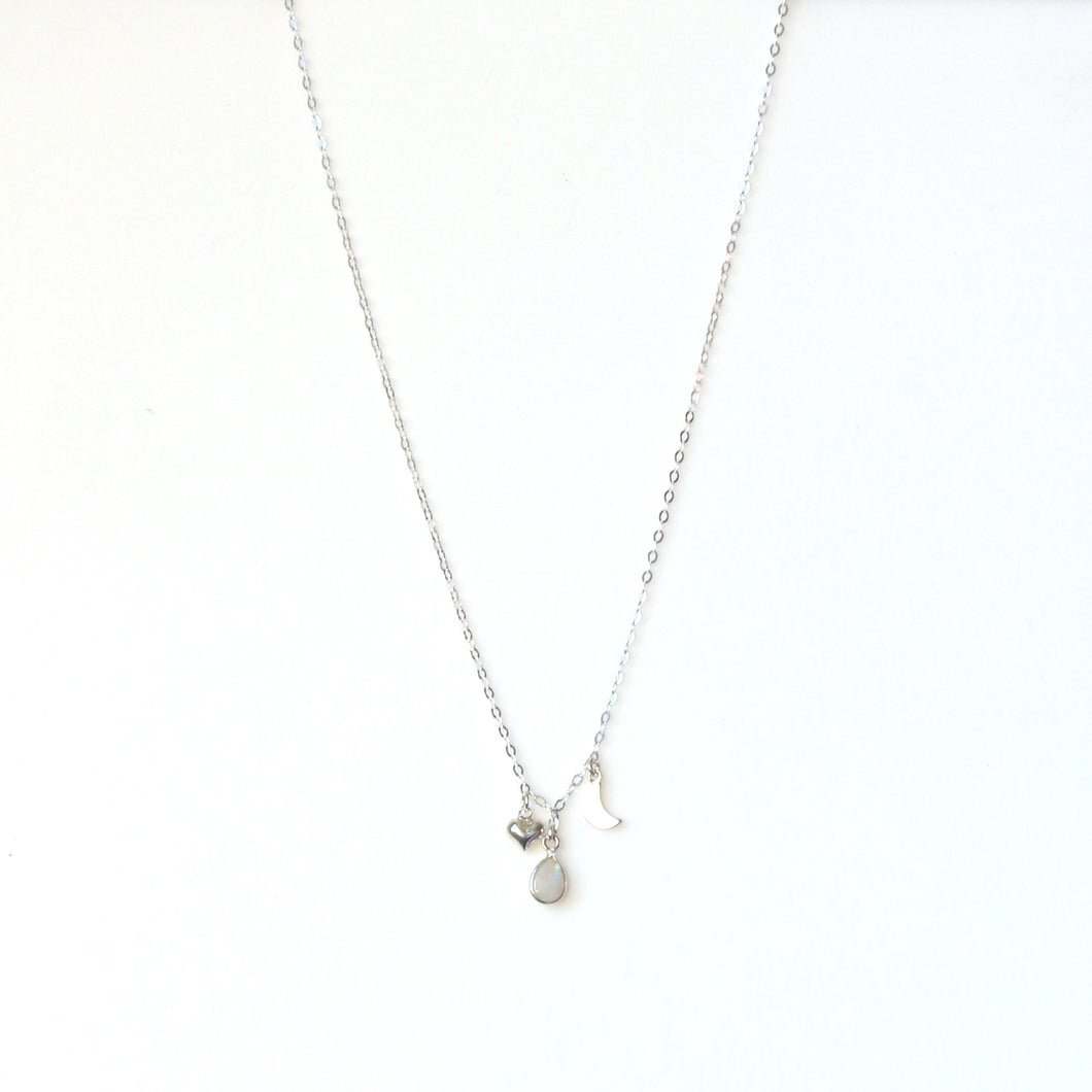 Sterling Silver Chain Necklace with Moonstone and Silver Charms