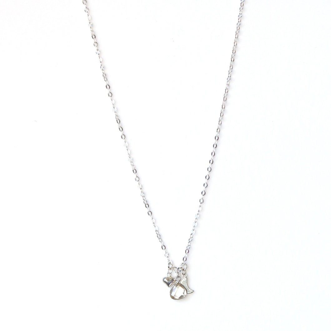 Sterling Silver Chain Necklace with Crystal Quartz and Silver Charms