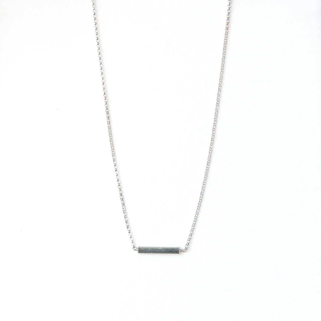 Sterling Silver Necklace with Bar Pendant