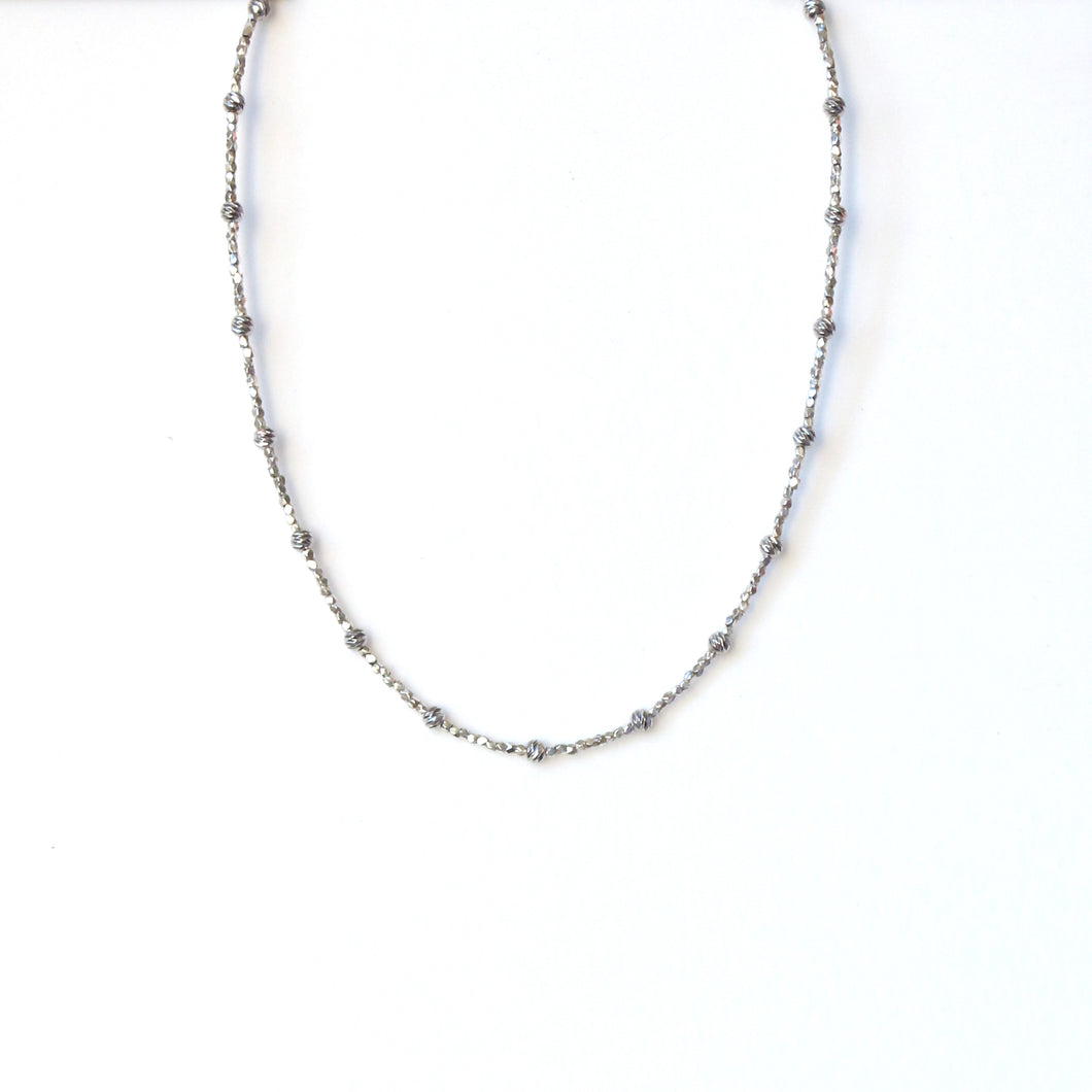 Sterling Silver Necklace with Different Shape Silver Beads