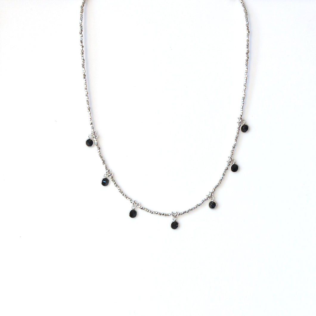Sterling Silver Beaded Necklace with Black Cubic Zirconia Mini Pendants