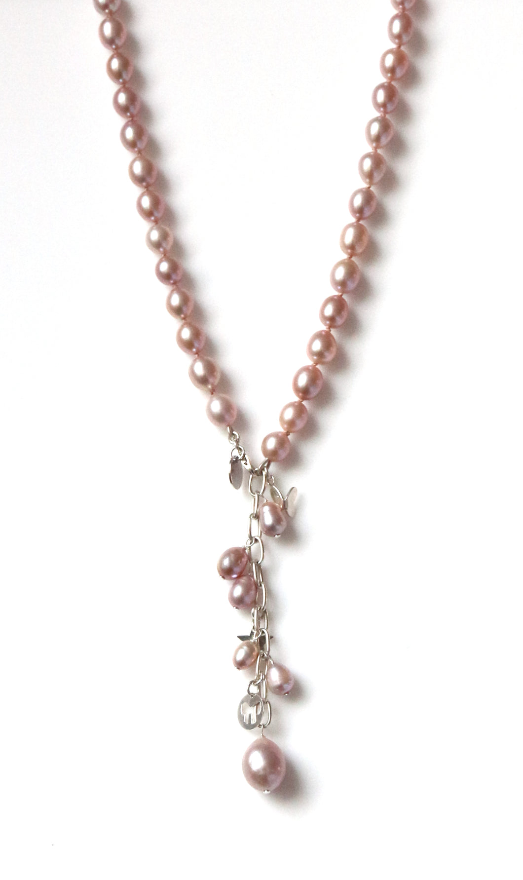 Australian Handmade Pink Natural Colour Pearl Necklace with Sterling Silver Charms and Chain