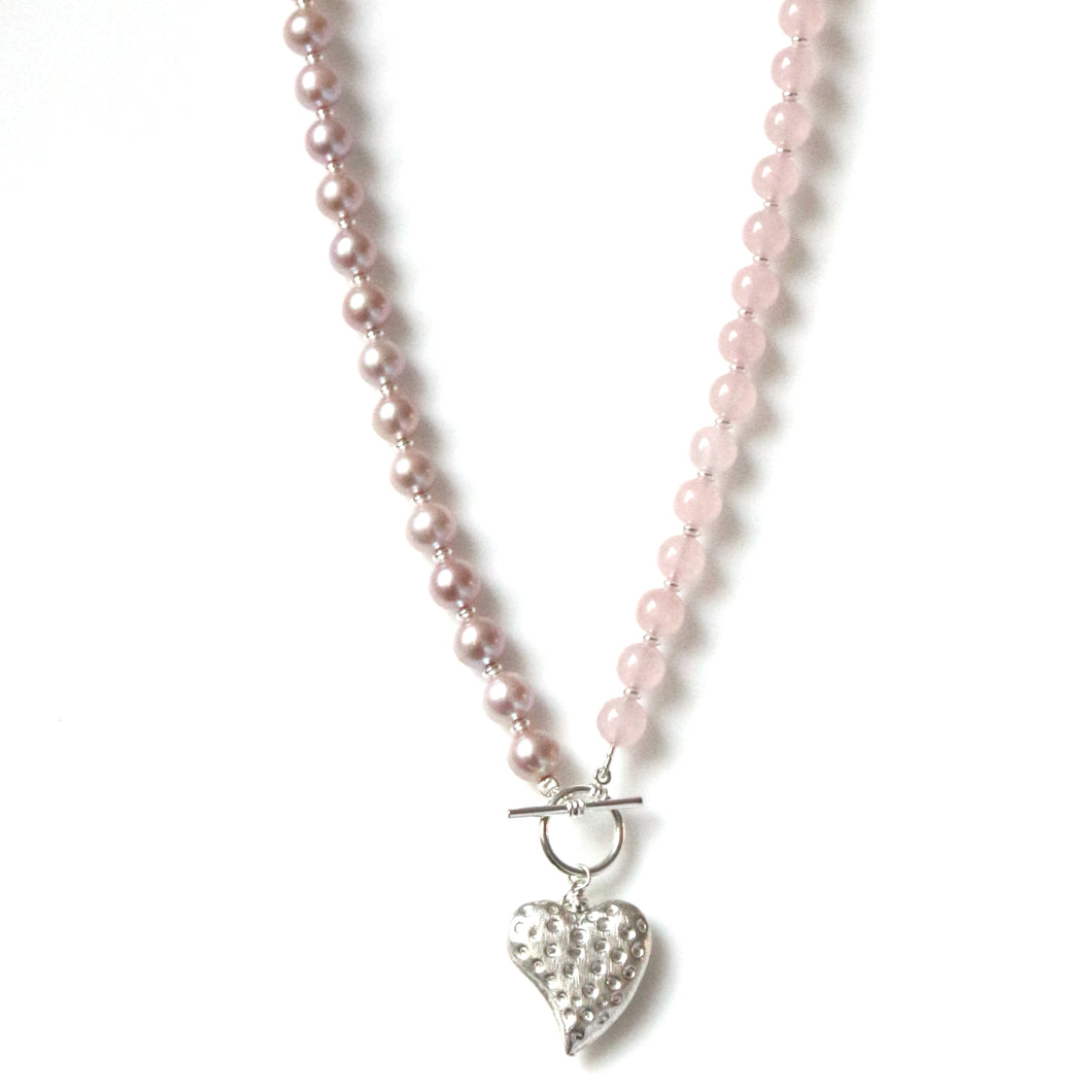 Australian Handmade Pink Fob Necklace with Natural Colour Pink Pearls Rose Quartz feature Sterling Silver Heart