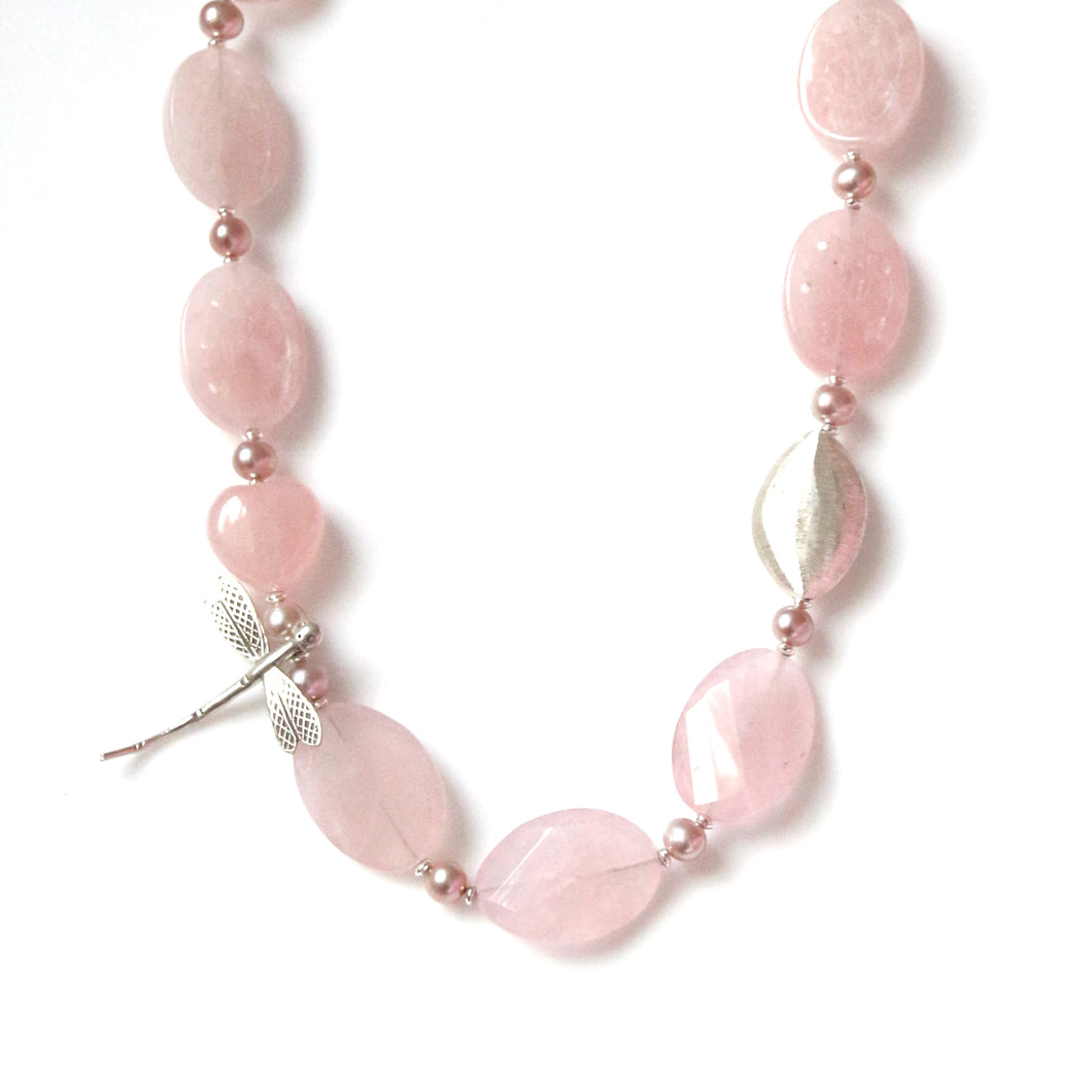 Australian Handmade Pink Necklace with Rose Quartz Pearls and Sterling Silver Dragonfly feature