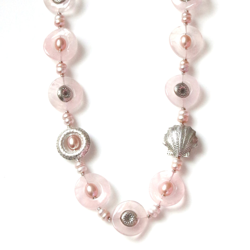 Australian Handmade Pink Necklace with Rose Quartz Pink Pearls and Sterling Silver