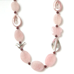 Australian Handmade Pink Necklace with Carved Rose Quartz Rhodonite Mother Of Pearl and Sterling Silver