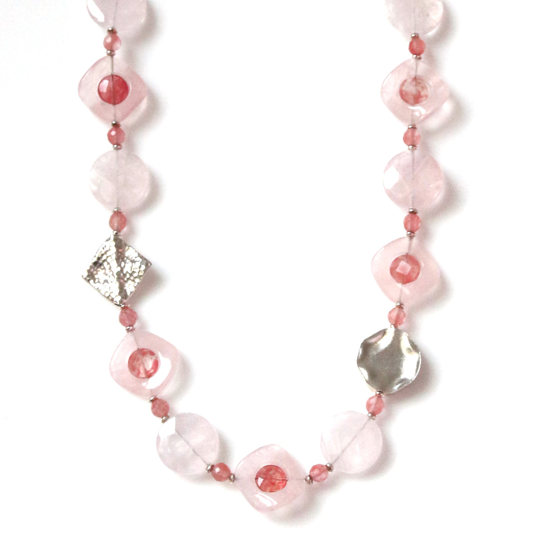 Australian Handmade Pink Necklace with Rose Quartz Cherry Quartz and Sterling Silver