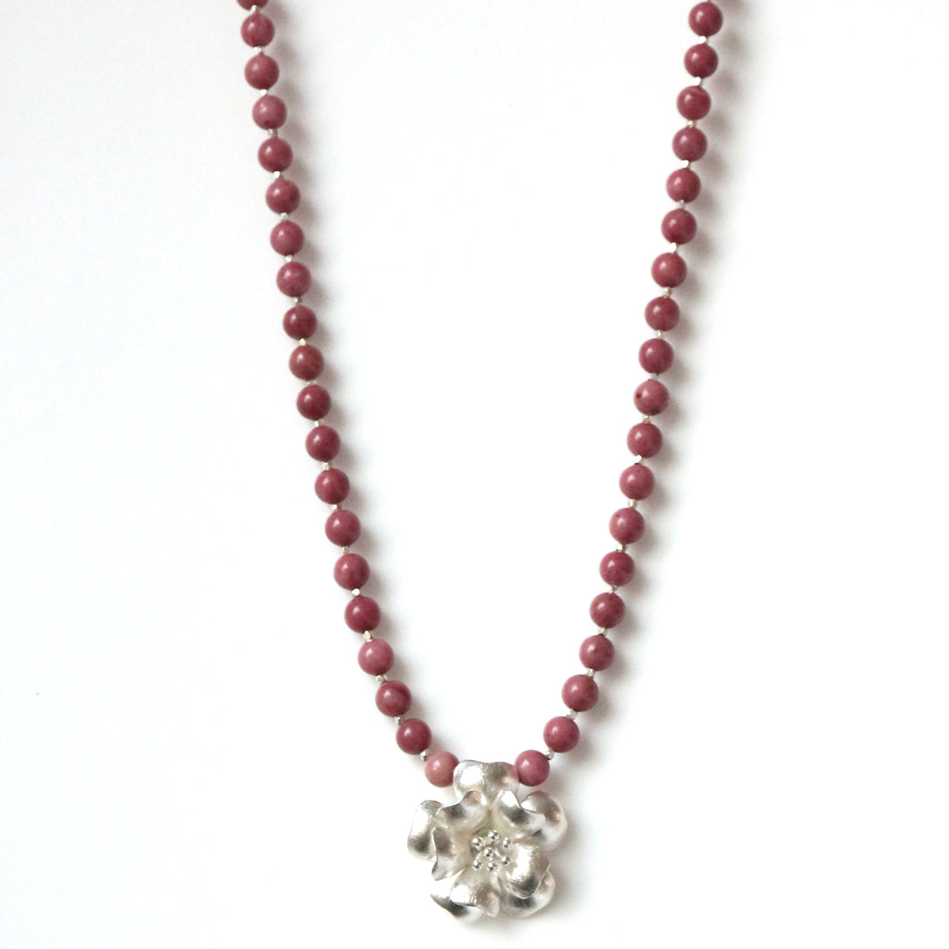 Australian Handmade Pink Rhodonite Necklace Featuring Sterling Silver Flower