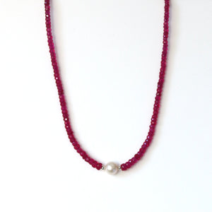 Australian Handmade Pink Indian Ruby Necklace with Pearl Centrepiece