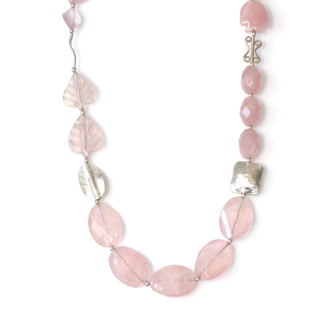 Australian Handmade Pink Necklace with Rose Quartz and Sterling Silver