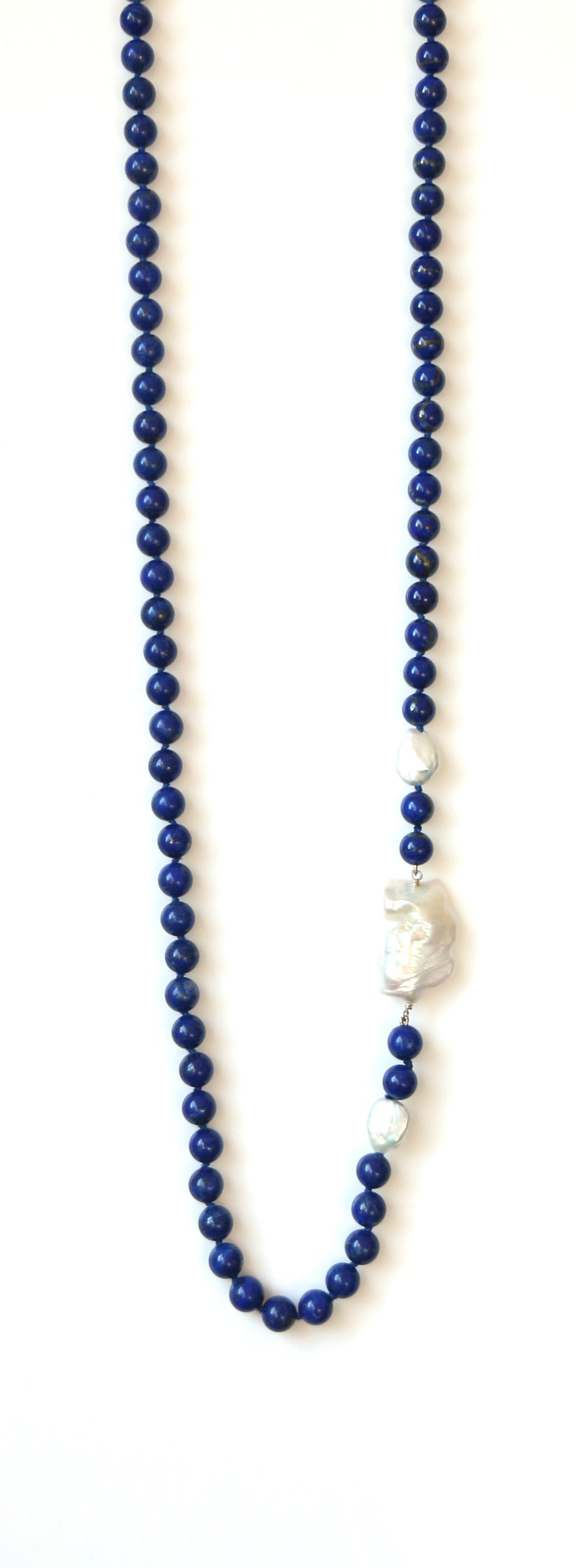 Australian Handmade Blue Necklace with Lapis Lazuli featuring Baroque Pearl Sidepieces