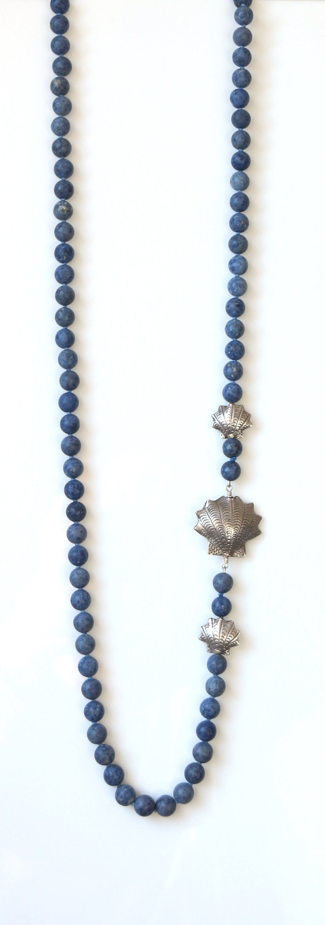 Australian Handmade Blue Necklace with Dumortierite and Sterling Silver Side Pieces