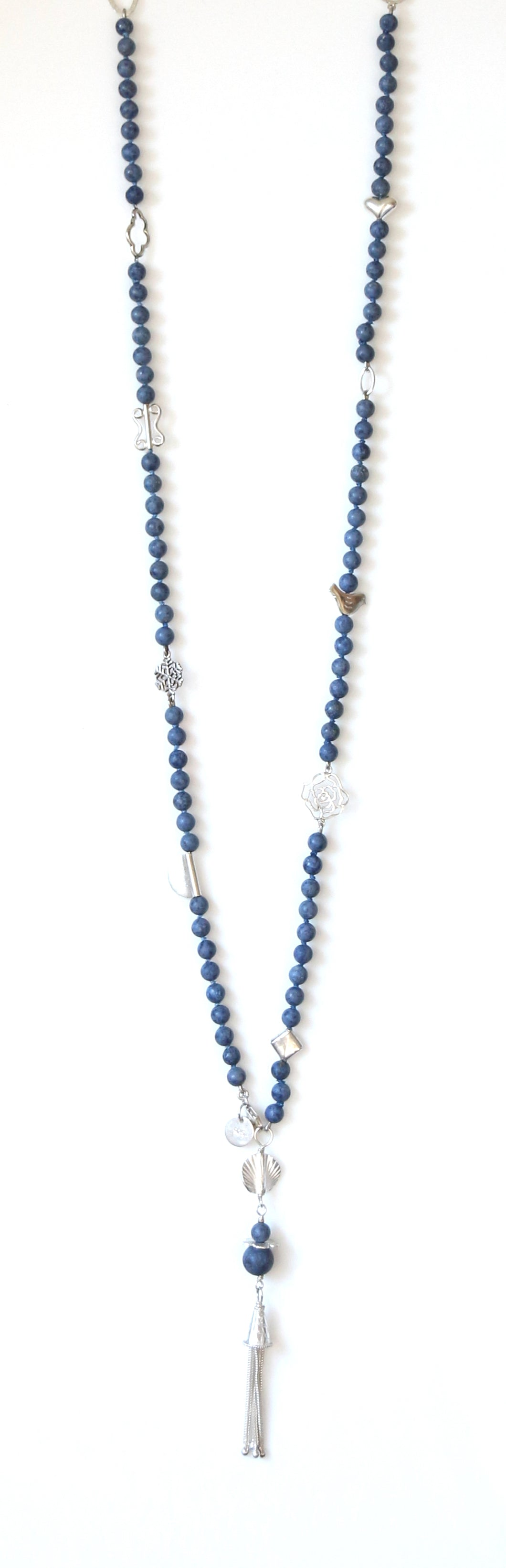Australian Handmade Blue Long Tassel Necklace with Dumortierite and Sterling Silver
