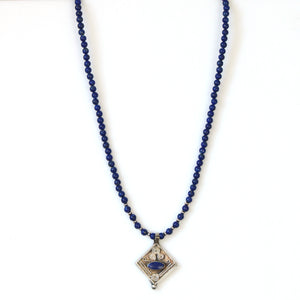 Australian Handmade Blue Lapis Bead Necklace with Old Afghani Silver Pendant