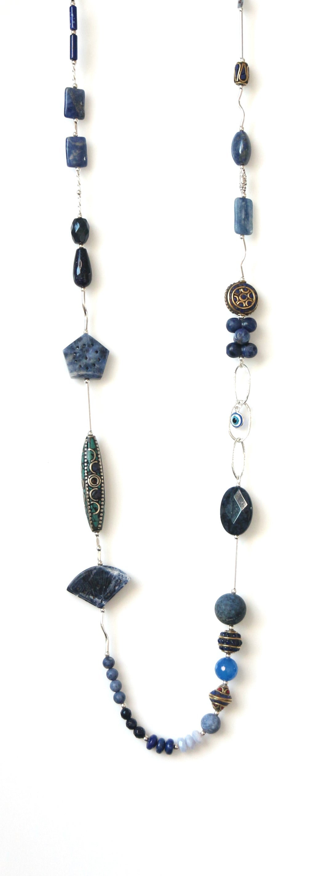 Australian Handmade Blue Necklace with Nepalese Beads Sodalite Dumortierite Lapis Lazuli and Sterling Silver