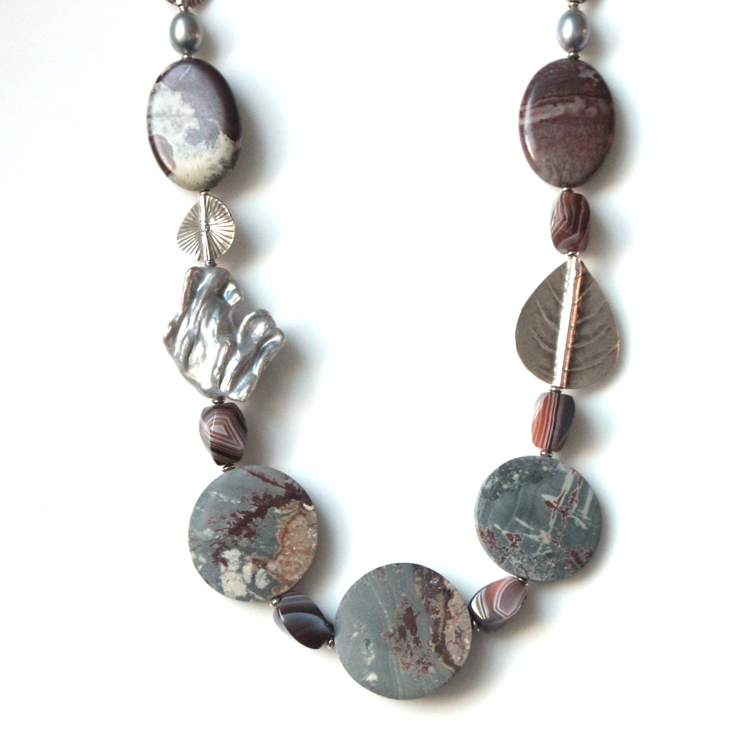 Australian Handmade Grey Necklace with Sonoran Dendrite Rhyolite Agate Jasper Baroque Pearl and Sterling Silver