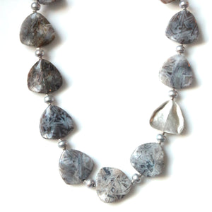Australian Handmade Grey Necklace with Flower Agate Pearls and Sterling Silver