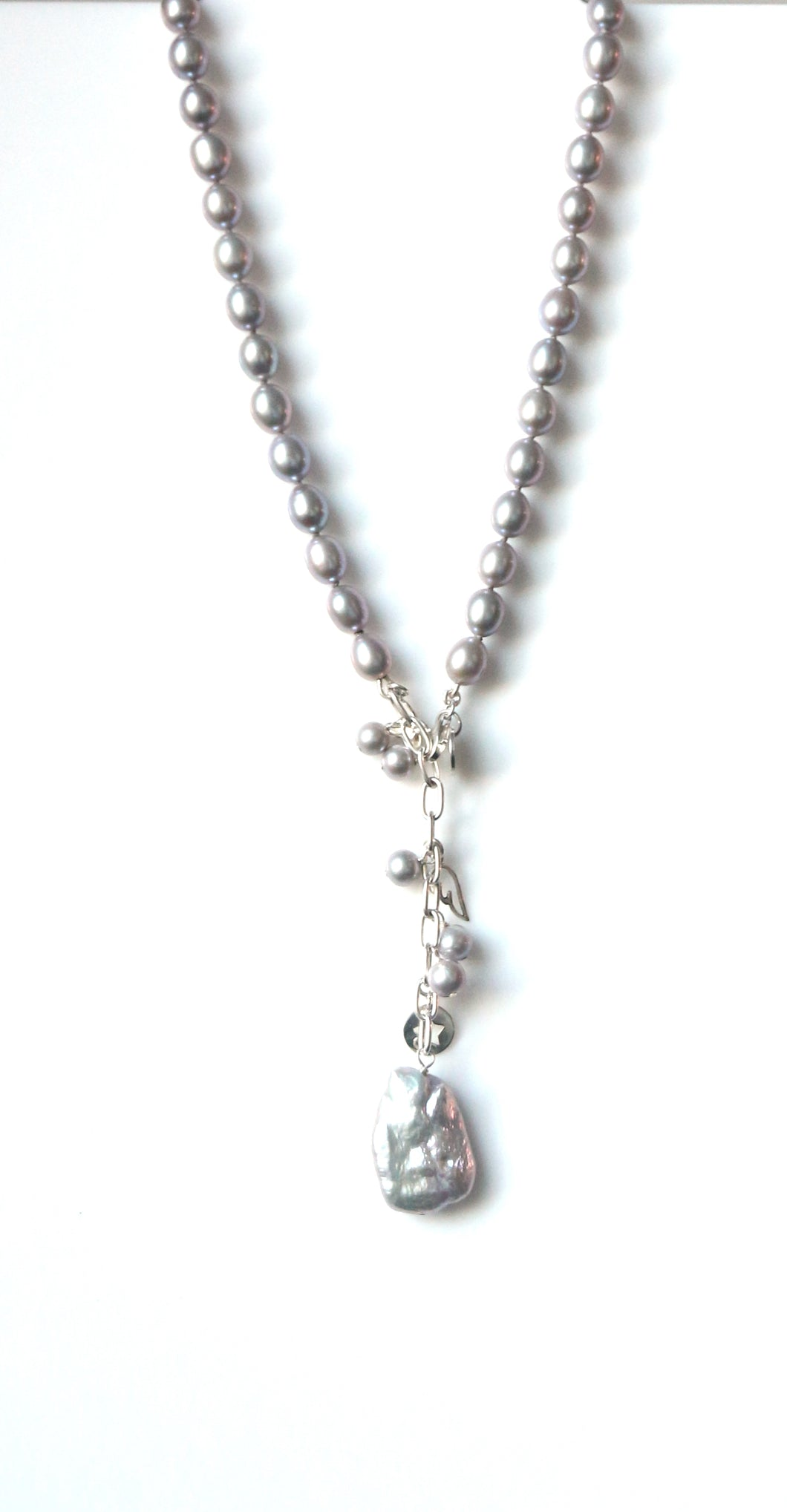Australian Handmade Grey Necklace with Grey Pearls Baroque Pearl Silver Chain and Charms
