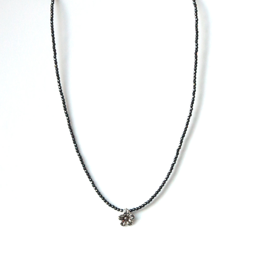 Australian Handmade Grey Necklace with Facetted Hematite and Sterling Silver Flower