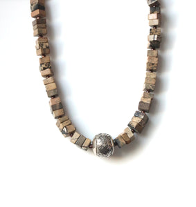 Australian Handmade Brown Necklace with Matt Variegated Jasper Pearls and Sterling Silver Centrepiece