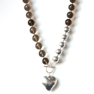 Australian Handmade Brown Smoky Quartz Necklace with Sterling Silver Heart and Beads