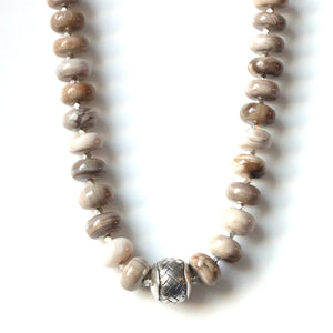 Australian Handmade Brown Wood Opalite Necklace with Sterling Silver feature piece
